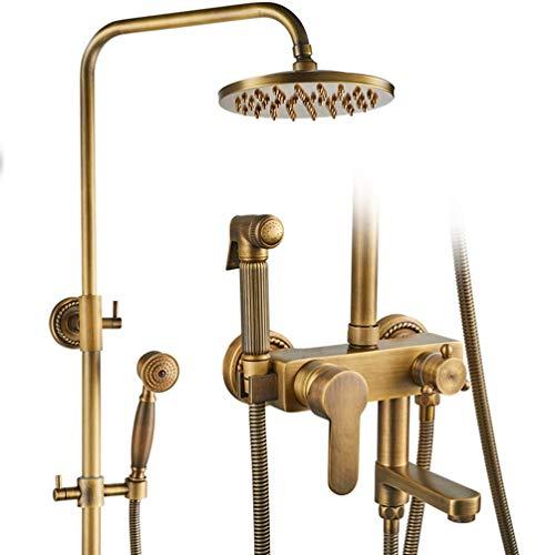 Regenduschenset mit Bidet Spray Wasserhahn Antike Bronze Fertig Bad Dusche Sets 8