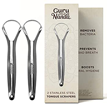 Guru Nanda Stainless Steel Tongue Scraper  Pack of 2  Fights Bad Breath Medical Grade 100% Stainless Steel Great for Oral Hygiene Tongue Cleaner for Adults and Kids