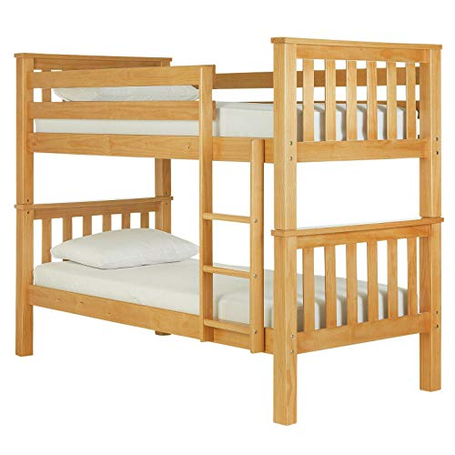 Bunk Beds For Kids Bunk Bed 3 Feet Double Bed Solid Pine Wooden Bunk Bed Frame Bedroom Home Sleep For Kids/Adult Children Bed Frame With Stairs (3 ft Natural Double Bed)