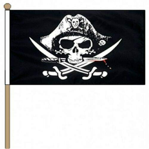 Flagmania® Gekreuzte Säbel (Pirate) 30,5 x 45,7 cm, große Hand winkende Flagge + 59 mm Button Badge