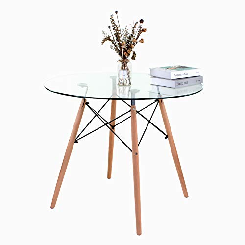 Retro Glass Round Dining Table Eiffel Design Metal Frame 4 Beech Leg with Glass Table Top 90 Dia Surface For Kitchen Dining Room Family Workstation