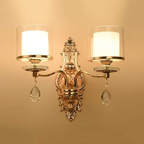 MGWA Lámpara de pared LED de aleación de zinc cristal lámpara de pared pasillo pasillo comedor sala de estudio dormitorio escaleras balcón oro blanco luz amarilla cálida de lujo moderno