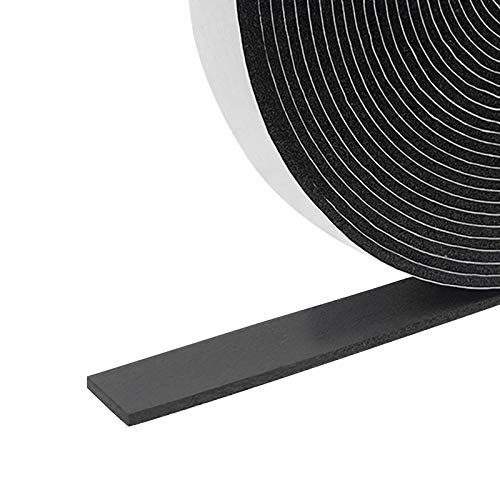 Foam Insulation Tape Self Adhesive,Weather Stripping for Doors and Windows,Sound Proof Soundproofing Door Seal,Weatherstrip,Cooling,Air Conditioning Seal Strip (1In x 1/8In x 33Ft, Black)