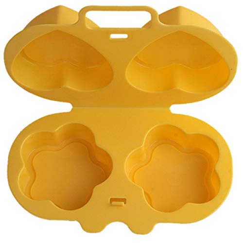 QQWA Niedlicher Mikrowellendampfer-Kessel Gedämpfter Eiförmiger Eierkessel Gelbe Plastikform Mini-Frühstücks-Faltschließe Design