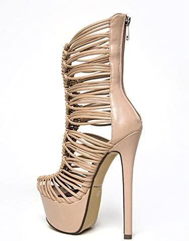 Embrace-Me Nude White Mid-Calf Strappy Platform Stiletto Heels Women/'s shoes