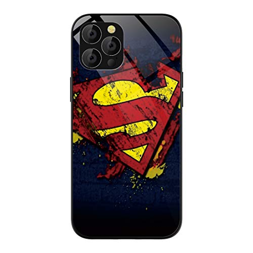 Phone Case Compatible with iPhone 12 Pro Max (2020), Comics Pattern Tempered Glass Back Cover Soft TPU Anti Scratch Bumper Design Phone Cases 6.7 inch (Superman-Logo)