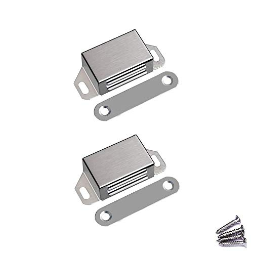 WOOCH Magnetic Door Catch - 25lb High Magnetic Stainless Steel Heavy Duty Catch for Kitchen Bathroom Cupboard Wardrobe Closet Closures Cabinet Door Drawer Latch (2.1 in Silver, 2-Pack)