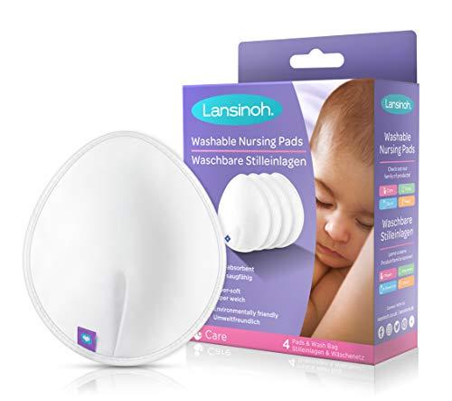 Lansinoh Discos lavables de lactancia. Discos reutilizables, ultra absorbentes, ecólogicos de viscosa de bambú. Incluye 4 discos para usarlos de día y de noche.