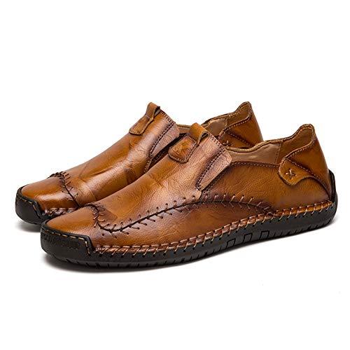 Mocasines Zapatillas Hombre Cuero Casuales Zapatos Caballero Trabajo Ligeras Ponerse Centavo Conducción Barco Vestido Formal(Amarillo,47/48 EU,29CM De talón a Dedo del pie