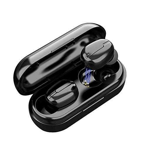 Cuffie Bluetooth 5 Senza Fili Bassi Potenziati, Auricolari con Custodia da Ricarica 25 Ore di Tempo di Utilizzo, Microfoni Integrati, Prova di Sudore, Touch Control per Samsung iPhone Huawei