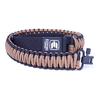 Estobi Outfitters Gun Sling for Rifle, Shotgun, Crossbow - Tactical 2 Point Paracord with Adjustable Strap and Metal Swivels - Comfortable, Lightweight and Durable (Black Coyote Brown)