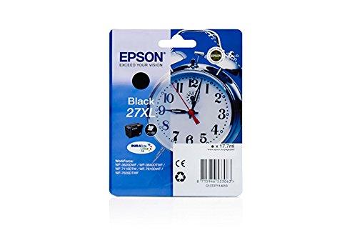 XL Originale Epson C13T27114010 / 27XL cartucce d'inchiostro (nero, ca. 1.100 Pagine, capacità 17,70 ml) per Workforce WF-3620, WF-3640, WF-7110, WF-7610, WF-7620