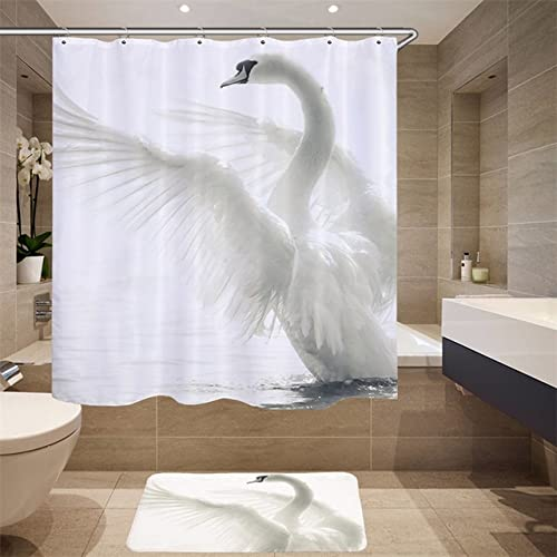 Hochwertige Möbelzubehör Digitaldruck 3D Simulation Tiermuster Duschvorhang Schwan Stoff Duschvorhang Q1 150x180cm