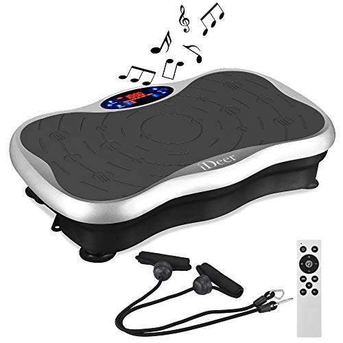 IDEER LIFE Vibration Platform Exercise Machines, Whole Body Workout Fitness Vibration Platform Machine w/Loop Bands/Remote Control and Music Speaker.Max Load 300lbs.
