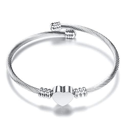 Kkwk Mode einfarbig Edelstahl herzförmige Armband armreif für Frau Dropshipping b one Size