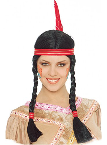 Guirca Fiestas GUI4168 - geflochtene Frauen-Indianerperücke mit Feder (Box
