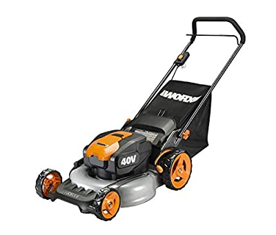 "WORX WG751 40V Power Share 5.0 Ah 20"" Lawn Mower w/ Mulching and Side Discharge Capabilities (2x20V Batteries)"