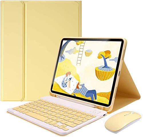 FANG Keyboard Case for Ipad Pro 11'/Pro 12.9' 2020/2018 [Supports 2Nd Gen Pencil Charging] - Soft TPU Back Cover with Pencil Holder, Detachable Wireless Keyboard with Bluetooth Mouse