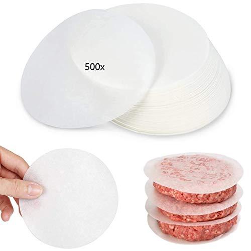 Paper Burger Patty Papel para hornear 500 hojas, redondo Ø11 cm, papel...
