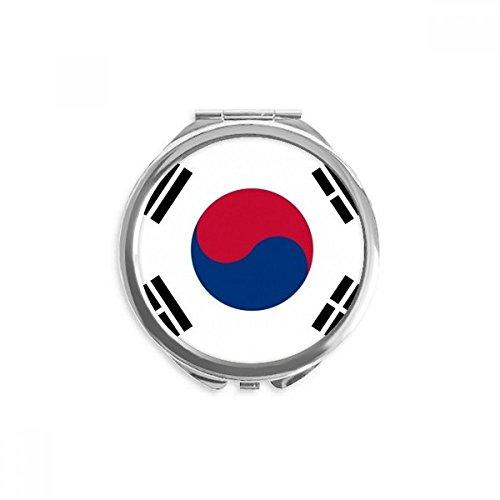 DIYthinker corée du sud drapeau national asie pays miroir rond maquillage de poche à la main portable 2,6 pouces x 2,4 pouces x 0,3 pouce Multicolore