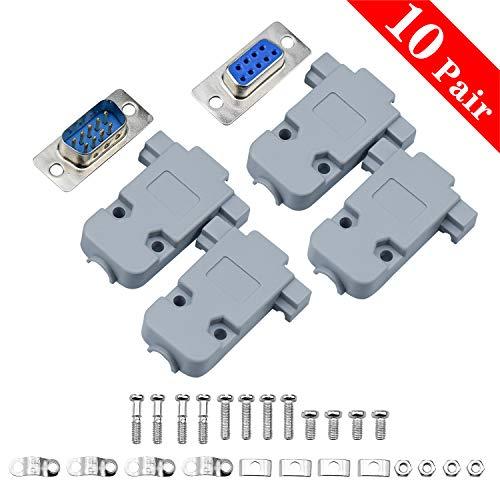 COCOCITY Conector de Serie, DB9 Conector Macho a Hembra Cable Adaptador de acoplador de Cambiador de género 20 Piezas