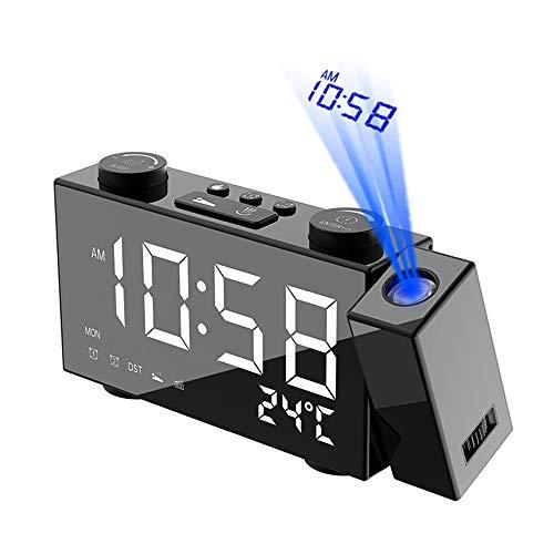 Projektionswecker, FM Radiowecker mit Projektion, 6'' LED-Anzeige, Digital FM Projektionsradio Wecker, Dual-Alarm, 4 Helligkeit, Snooze, Temperaturanzeige, USB/Batterien, 180° Dreh-Projektor