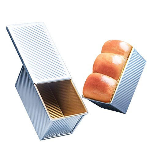 OJelay Bread Pan with Cover 9x5 Nonstick Aluminum Corrugated Toast Mold Pullman Loaf Pan with Lid
