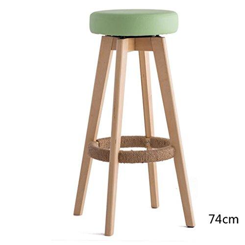 Rollsnownow Coussin vert clair en bois en bois haute chaise haute de 74cm Tabouret haut tabouret moderne chaise tournante de simplicité