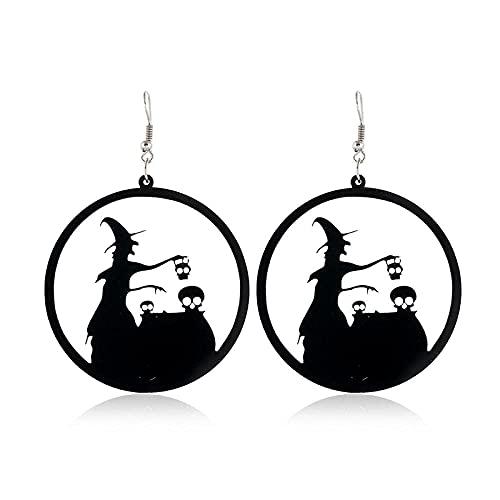 Pendientes para niñas, QWEA Pendientes grandes de acrílico para mujer Mano de zombi Araña Calabaza Bruja Pendientes colgantes Moda de gato negro