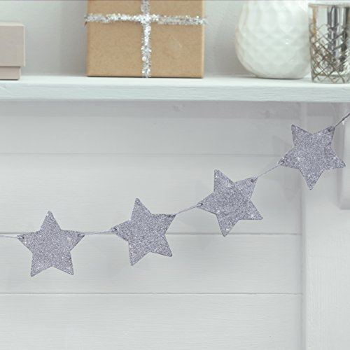 Ginger Ray Silver Glitter Star Wooden Bunting Hanging Decoration Metallic