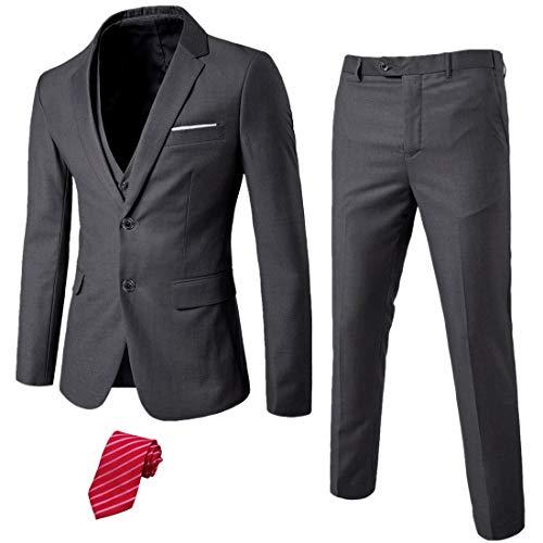 MYS Men's 3 Piece Slim Fit Suit Set, 2 Button Blazer Jacket Vest Pants with Tie,...