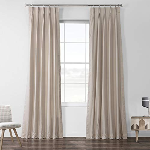 HPD Half Price Drapes PRCT-S02B-108-FP Solid Cotton Pleated Curtain (1 Panel), 25 X 108, Hazelwood Beige