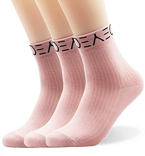Seoulmade Herren & Damen Socken aus Premium Baumwolle | Bunte Streetwear Socken Rosa 35-39 3x Paar