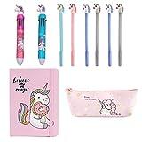 Amycute 10 Pezzi Set di Cancelleria per Unicorno, Unicorno Penne Colorate, Borsa per Matita Unicorno, Quaderni per Unicorno, Penna a Forma di Unicorno, Regalo di compleanno per ragazze (Stile 2)