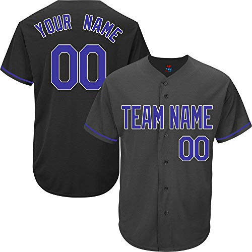 Black Custom Baseball Jersey for Men Women Kids Full Button Mesh Embroidered Team Name & Numbers S-5XL