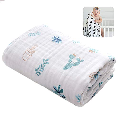 Baby Unisex Muselina Swaddle Blanket Boutique 100% Algodón Ligero Recién Nacido Manta de Cuna de Guardería, Ropa de Cama Infantil Registro de Ducha Regalo Para Niños Pequeños Para Niños Niñas ,Cactus
