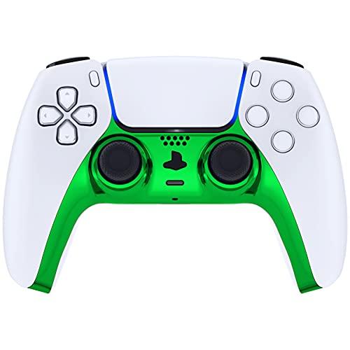 eXtremeRate Carcasa Decorativa para PS5 Mando Cubierta de Placa Reemplazable con Anillos de Acento para DualSense 5 Protector Placa Brillante Cover para Playstation 5 Control (Verde Cromo)