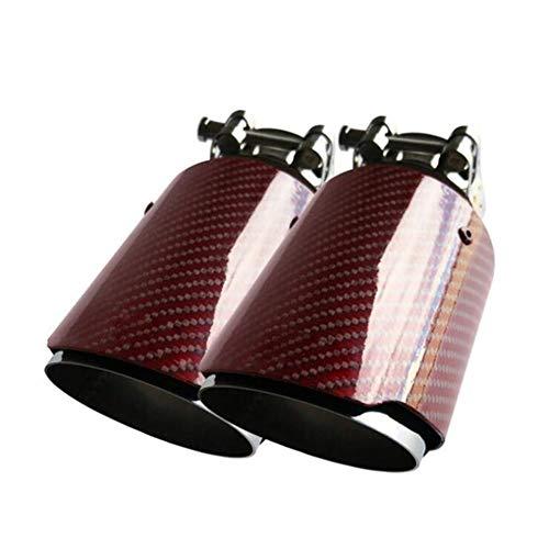 Red Carbon Fiber Punta del silenziatore di Scarico Sistemi di Tubi di Scarico in Acciaio Inossidabile Trim Dritto for Akrapovic Car Styling (Color : 57-101mm)
