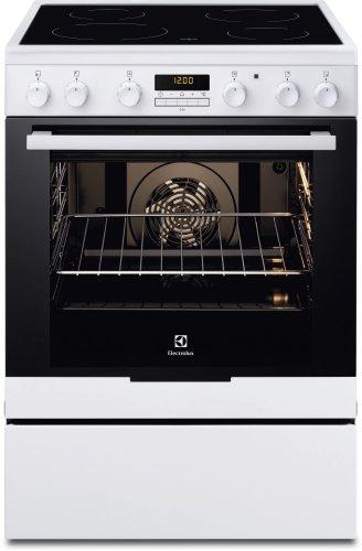 Electrolux EKC6670AOW four et cuisinière Noir, Blanc Céramique A-20% - Fours et cuisinières (Cuisinière, Noir, Blanc, Boutons, Rotatif, Devant, Électronique, Céramique)
