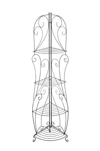 CLP Eisen-Eckregal IRMA I Stabiles Klappregal mit Vier Ablagen I Dekoregal im Landhausstil I erhältlich, Farbe:Bronze