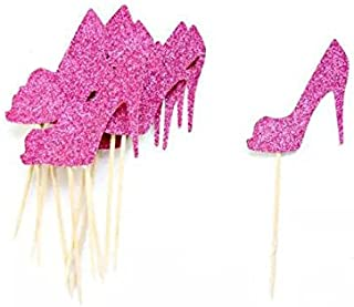 AIMING WEST Set of 10 Pink Purple Glitter High Heel Cake Cupcake Muffin Toppers Bridal Party Sexy Bachelor Party