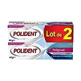 Polident Original, crema fijadora para prótesis dentales parciales o completas, sin sabor, lote de 2 x 40 ml