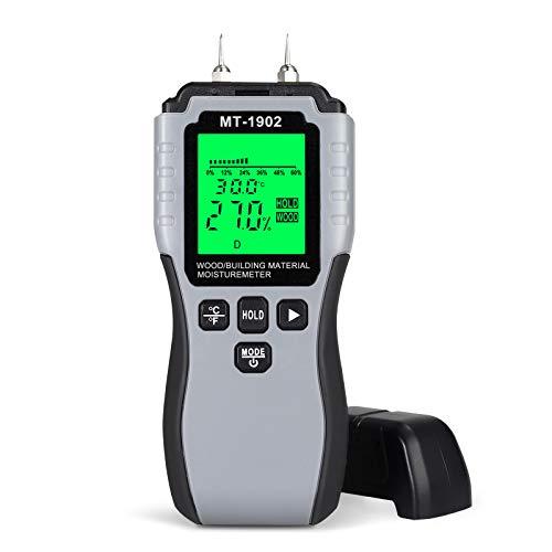 LCD Feuchtigkeitsmessgerät Tragbares Feuchtigkeitsmesser 8Kalibrierungsskalen mit Batterie Materialfeuchtemessgerät Wassermenge Umgebungstemperatur für gemessen Holz/Baumaterial/Möbelf