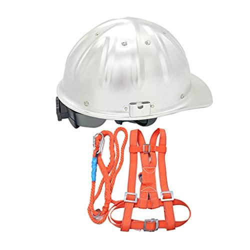 ZDDZ Cascos de Aluminio Ligero Cuerda de Seguridad de 3 M con Un Solo Gancho Y Mallas Tablero de Refuerzo Superior a Prueba de Pinchazos para Construcción Operaciones a Gran Altitud Mineros Muelles ⭐