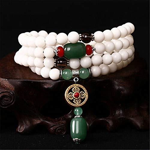 LEIGAGA Groothandel 8mm Natuurlijke Wit Bodhi Zaad Kralen Armband Handgemaakte Boeddhistische 108 Mala Kralen Gebed Armband Vrouwen Sieraden