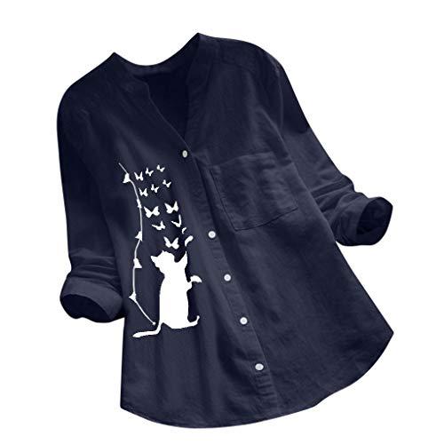 Reooly Algodón Inen con cuello en V camiseta con el gato Imprimir para Mujer la D - Azul marino