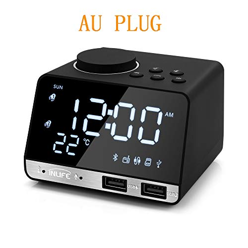 JGSDHIEU Bluetooth 4.2 wekkerradio met 2 USB-poorten LED digitale wekker Home Decration Snooze Table Clock