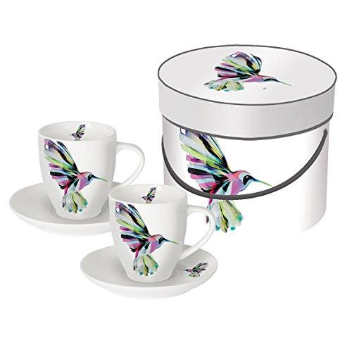 PPD Corfu Hummingbird Espressotassen mit Untertassen, Espressso Tasse, Kaffee Becher, New Bone China, Mehrfarbig, 100 ml, 603333