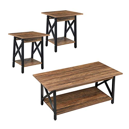 GreenForest Coffee Table and End Table Bundle Industrial Style Living Room Furniture Set of 2 with Shelf, Easy Assembly, Rustic Walnut