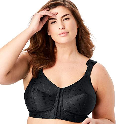 Elila Women's Plus Size Jacquard Front-Close Wireless Bra - 40 G, Black